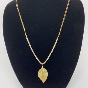 Gh bass and co long leaf pendant necklace